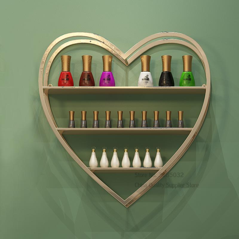 Heart Shape iron Display Rack Makeup Cosmetic Organizer Multi-Tier Storage Shelves for Beauty Salon Manicure Shope