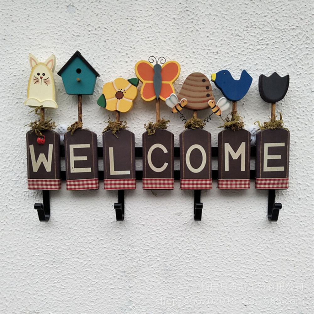 1pcs Welcome Sign Hanger Wooden Clothes Hook Cartoon Pattern Home Wall Hanging Storage Rack Kitchen Hangers DIY Decoration Hook