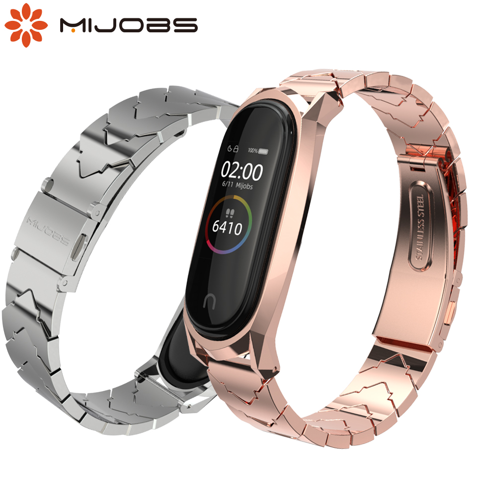 Mijobs Mi Band 4 Metal Strap Bracelet For Xiaomi Mi Band 4 3 Strap Screwless Stainless Steel MiBand 3 Wrist Band Smart Wristband