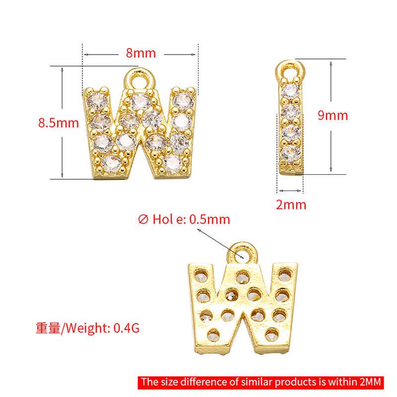 ZHUKOU 8 × 8.5 ミリメートル真鍮キュービックジルコニアクリスタル 26 レターチャーム女性のためのペンダントネックレスイヤリングジュエリーアクセサリーモデル: VD545
