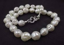baroque white 11-12.5mm FURROW Kasumi pearl necklace Double heart clasp S487#(China)