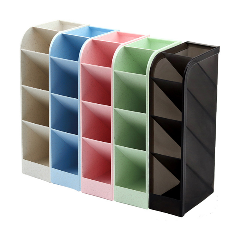 Creative Slanting Plastic Pen Holder Solid Color Multi-functional Split Case Pen Holder Students Desk Storage Supplies