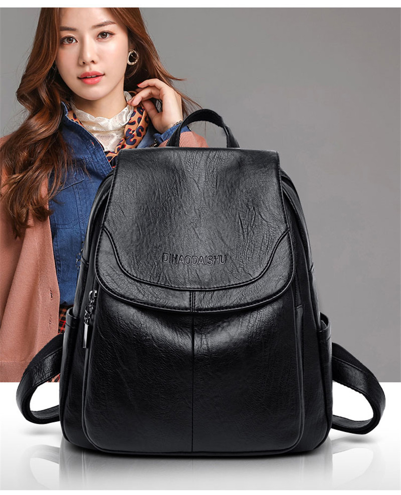 women/'s Fashion Soft Leather Backpack ladies shoulder Crossbody bag 3 pieces