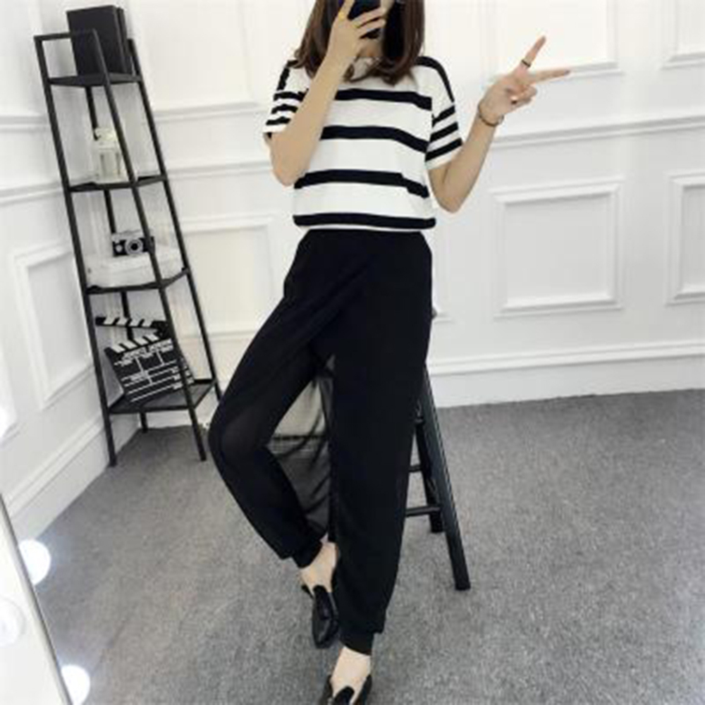 New Ladies Wide Leg Loose Casual Pleated Chiffon Capri Palazzo Pants Women 39 s Elastic Waist Solid Color Pants Fashion Trousers in Pants amp Capris from Women 39 s Clothing