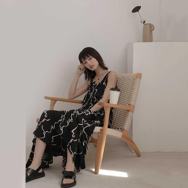 [EAM] femmes Spaghetti sangle noir motif impression longue robe nouveau sans manches coupe ample mode marée printemps automne 2020 JZ457