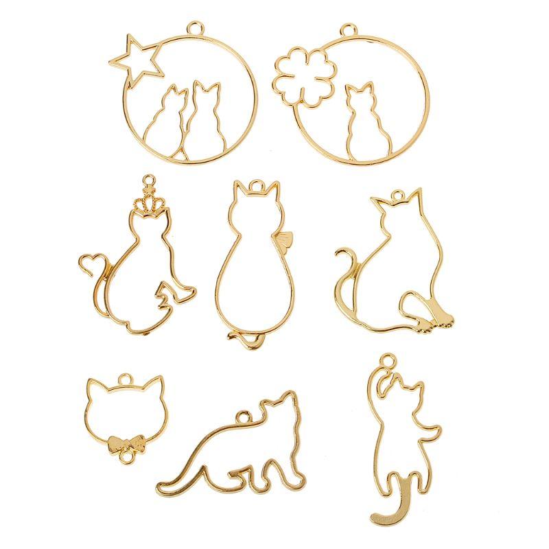 8 шт. кулон с милым котом, металлическая оправа для изготовления ювелирных изделий, УФ-Полимерные Подвески, оправа