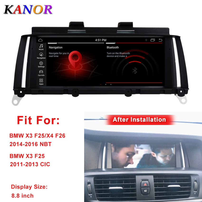 KANOR 8.8inch 4G+64G Android 10.0 Car Multimedia Player Gps Navigation For BMW X3 F25 CIC NBT System Autoradio Stereo