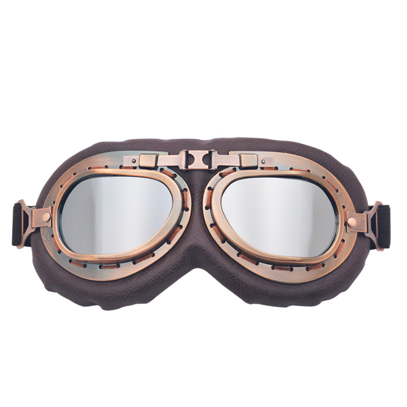 -Bronze Harley Motorcycle Glasses Off-road Harley Goggles Retro Eye-protection Goggles Karting Bicycle Glass