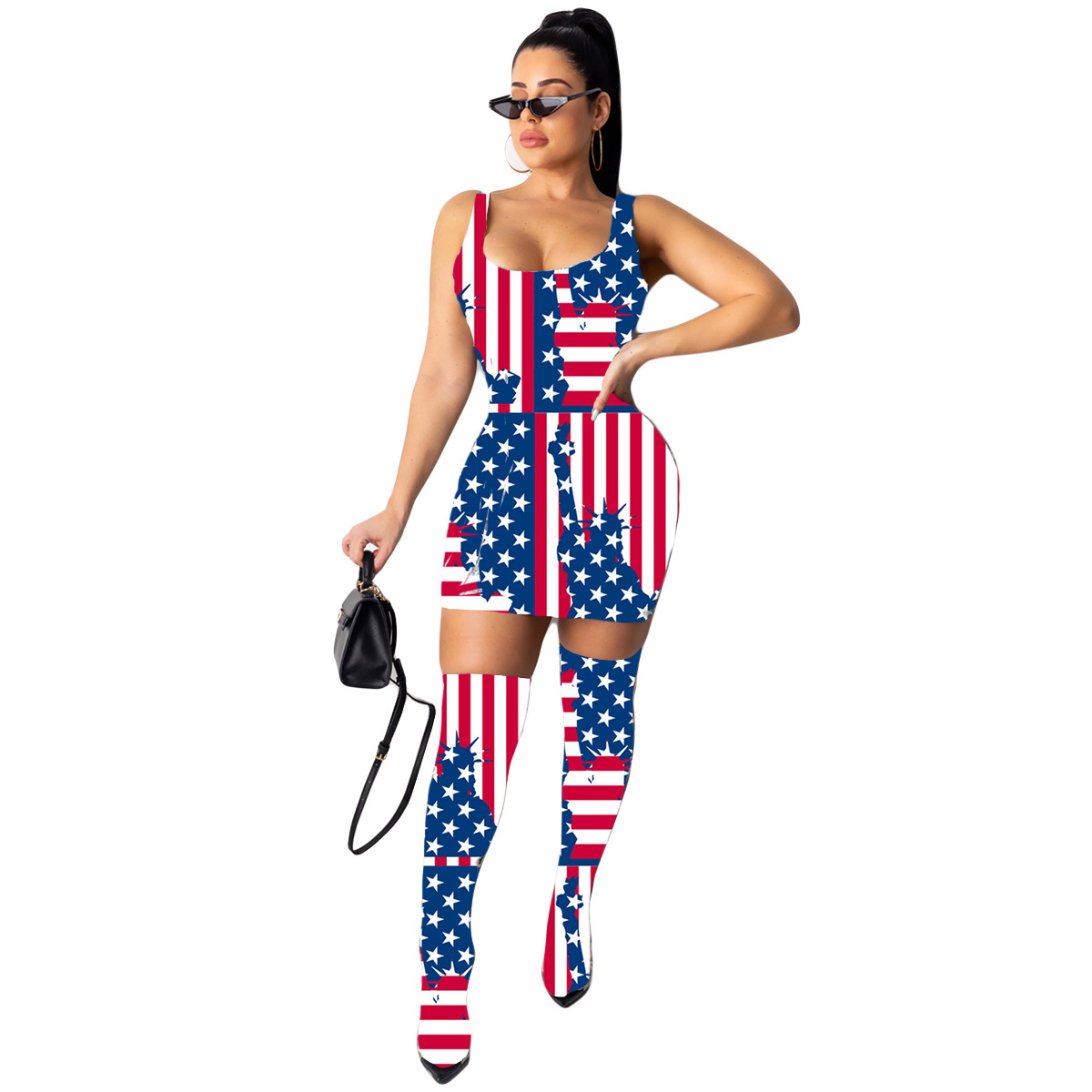 Sexy Fashion Women Mini Dress Included Knee Socks Digital Floral Printed American Flag Dollar Summer Outfits Club Party Sundress 8