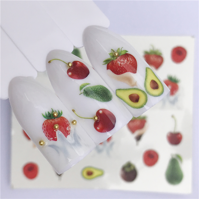 WUF 1 PC Sweets Ice Cream Summer Nail Sticker Mixed Colorful Fruit DIY Water Decals Nail Art Decorations Manicure Tool