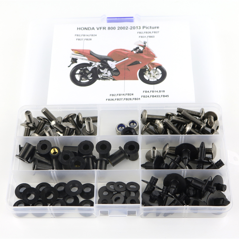 For Honda VFR800 VFR 800 2002-2013 Motorcycle Cowling Complete Full Fairing Bolts Kit Clips Nut Screws Steel