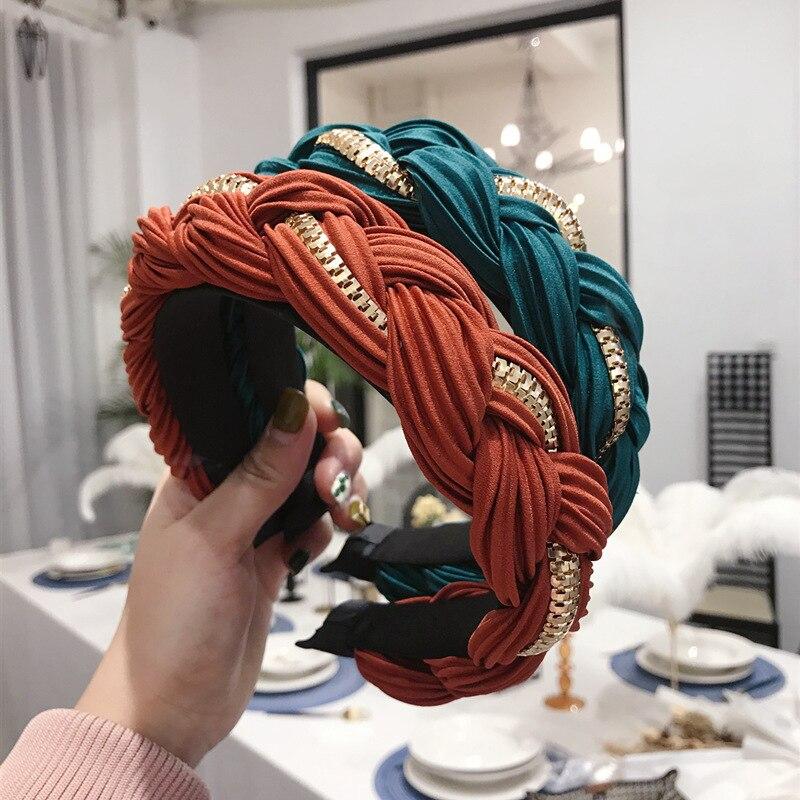 Плетеные повязки на голову шелковые атласные корейские модные
