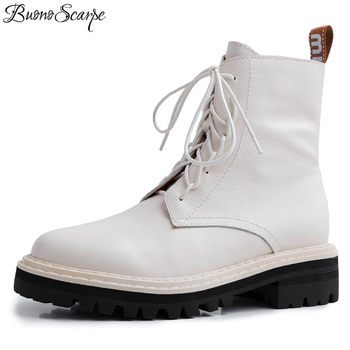 Buono Scarpe Women Brand Ankle Leather Boots Cross Tied Short Botas Mujer Genuine Leather Boots Fenimina Motorcycle Shoes Female