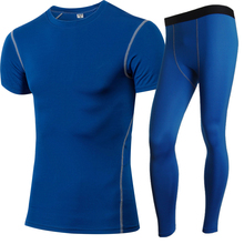 Mens Compression Tights Running Set Fitness Sport Suit Short T-Shirt Leggings Pant Gym Tracksuit Yoga MenS Sportswear