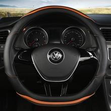 KKYSYELVA D Shape Leather Car Steering Wheel Cover Four Seasons Hubs for VW GOLF POLO JATTA Interior Accessories
