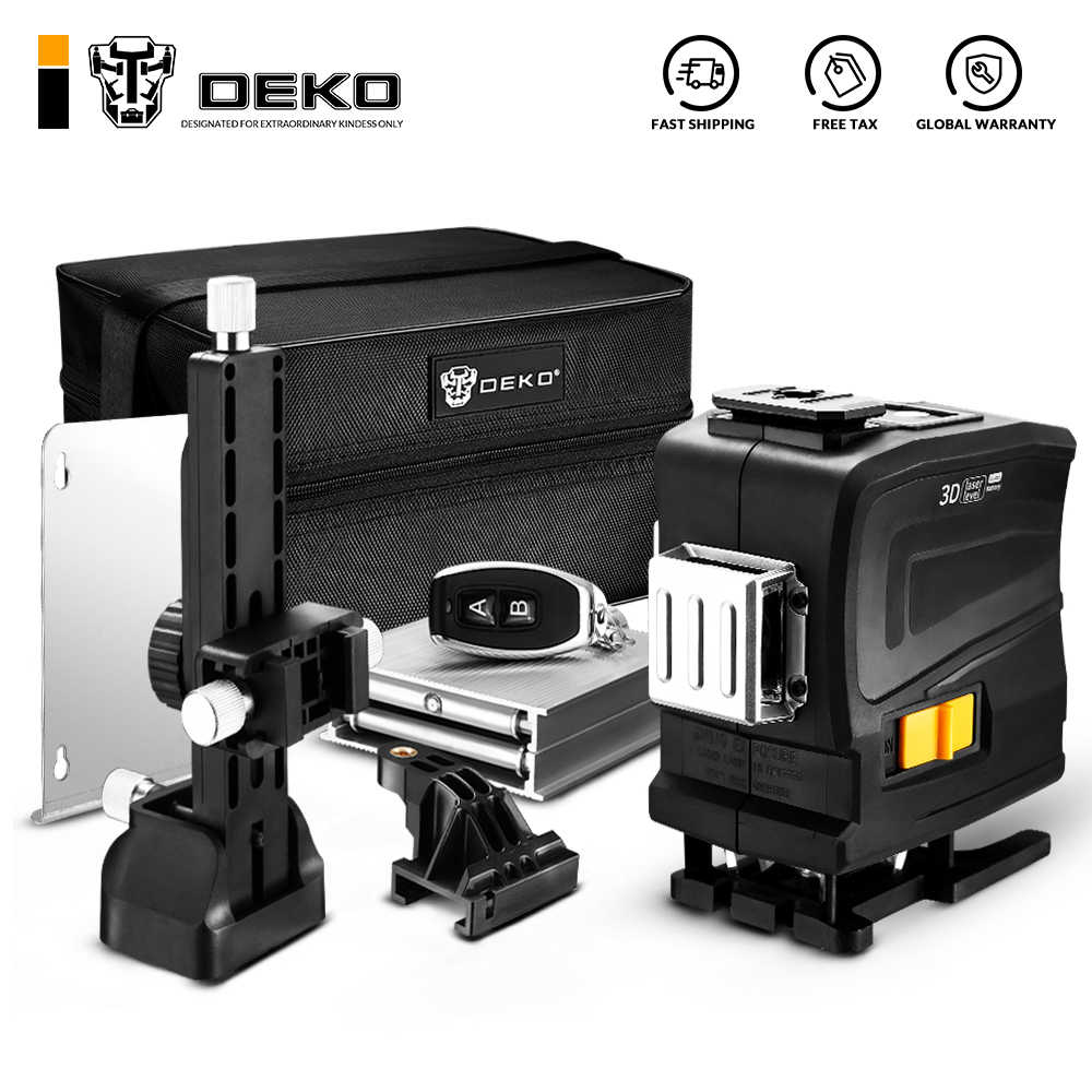 Nueva Luz Verde 3D DEKO de 12 líneas nivel láser Horizontal y Vertical con Control remoto, alta precisión, autonivelante, interior