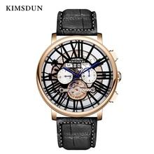 KIMSDUN New Top Brand Luxury Relogio Masculino Watch Mens Tourbillon Automatic Mechanical Multi-functional  Men Three-eye