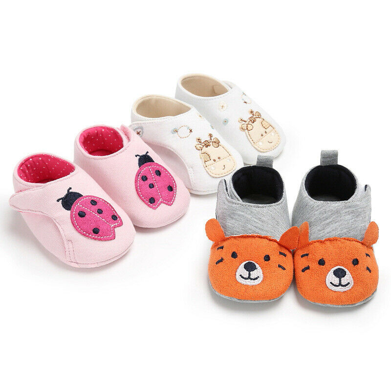 Toddler  Baby Shoes Girl Soft Sole Crib Cute Shoes Cartoon Animals Velcro Baby Shoes Sneaker Shoes Tiger Cattle Ladybug 0-18M