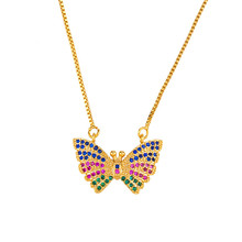 Fashion Elegant Letters Pendant Necklace  CZ Minimalist Animal Butterfly For Women Jewelry Collier