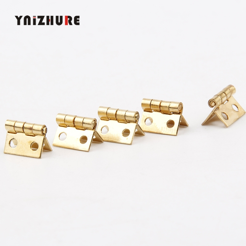Gold Mini Hinge Decor Door Hinges Wooden Gift Jewelry Box Hinge Fittings for Furniture Hardware+Nail,10*8mm,20Pcs