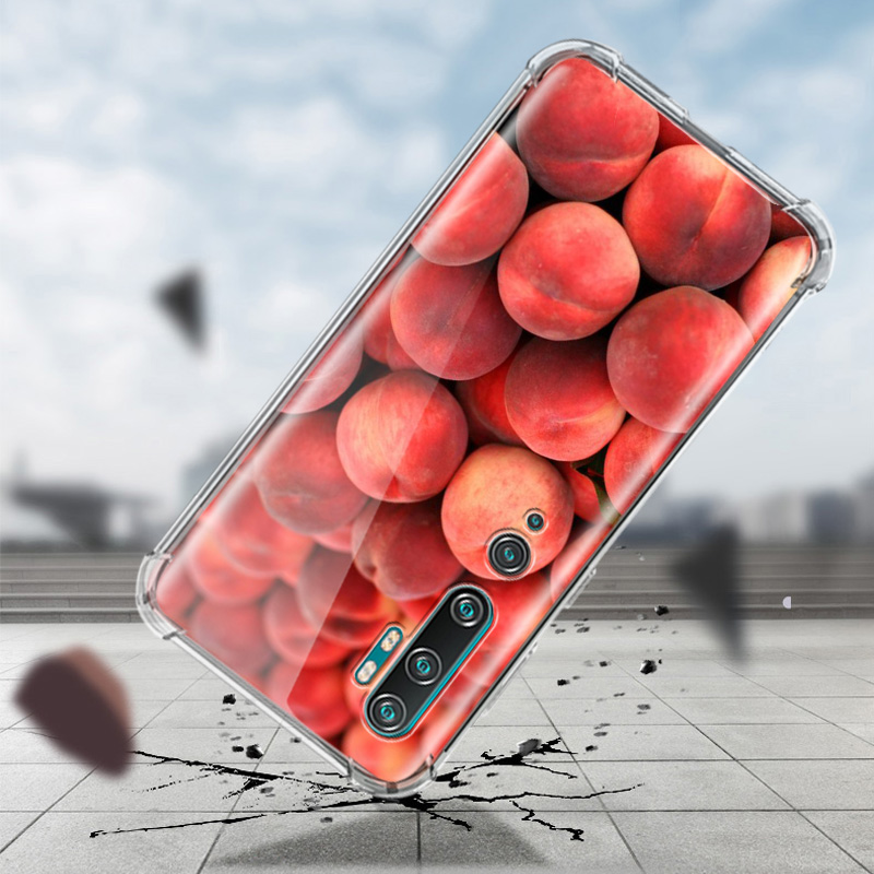 Food Wallpaper Peach Case For Xiaomi Mi Note 10 9 CC9 9T Pro 5G CC9E A2 Lite X2 Airbag Anti Fall TPU Phone Coque