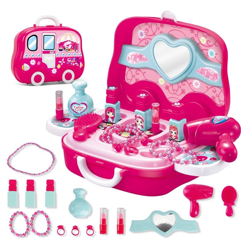 Pretend Play Kid Compõem Brinquedos de Maquiagem Rosa Definir Princesa Cabeleireiro Plástico Simulação Brinquedo Para Meninas Presentes Brinquedos Mala de Maquiagem