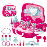 Pretend Play Kid Make Up Toys Pink Makeup Set Princess Hairdressing Simulation Plastic Toy For Girls Makeup Suitcase Toys Gifts