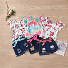 Летняя Новинка 2020 костюм для девушек блузка с цветочным принтом