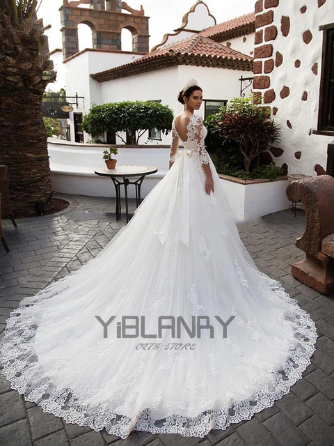 Luxury Wedding Dress Lace Beading With Princess Ball Gown O-neck Full Sleeve Bride Gowns Sashes Bow Lace Up Robes De Mariée 2