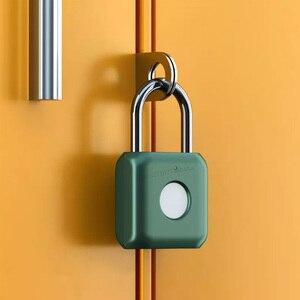 Image 5 - Youpin USB Rechargeable intelligent sans clé électronique serrure dempreintes digitales maison antivol sécurité cadenas serrure de fixation rétractable et mécanisme dattache de sécurité de porte