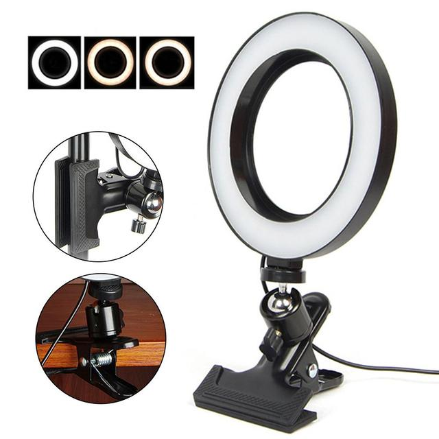 6.3 Inch 16cm Phone LED Live Broadcasting Video Live Studio Beauty Fill Ring Light lamp with Spring Grip Clamp