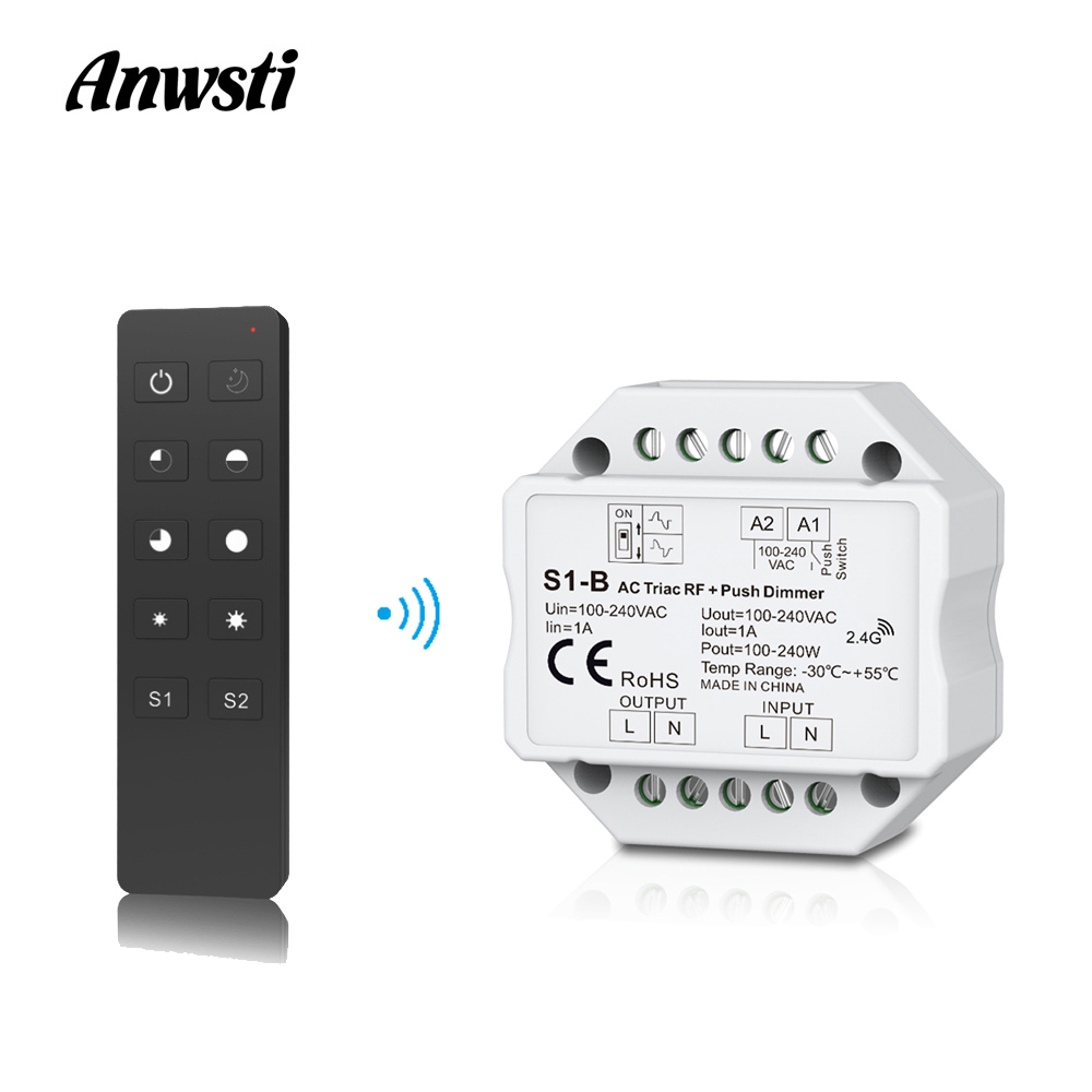 LED Dimmer Switch 220V 230V 110V AC Triac RF Wireless 2.4G Remote Control PWM Dimmable Light Switch Dimmer Triac For LED Lamps