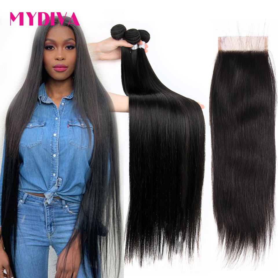 Brazilian Straight Hair Bundles With Closure <font><b>30</b></font> inch <font><b>32</b></font> 34 <font><b>36</b></font> 38 <font><b>40</b></font> Inch Human Hair Weave Bundles With Closure Remy Hair Mydiva image