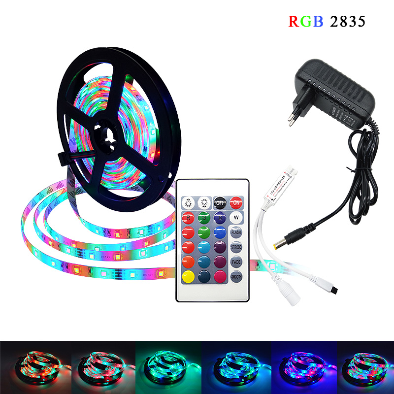 DC 12V 5m 3528 LED Strip Light RGB Tape Diode 300leds+24key IR Remote Controller White/Warm White/Bule/Red/Green Bande+adapter