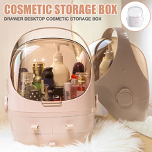 Caja de almacenaje para maquillaje tipo cajonera de escritorio ventana transparente a prueba de polvo estuche organizador cosmético DTT88