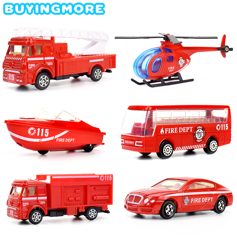 6 Kinds Mini Fire Truck Alloy Diecast Kids Cars Toys Glide Vehicles Mini Model Helicopter Speedboat Toys For Boys Gifts Game