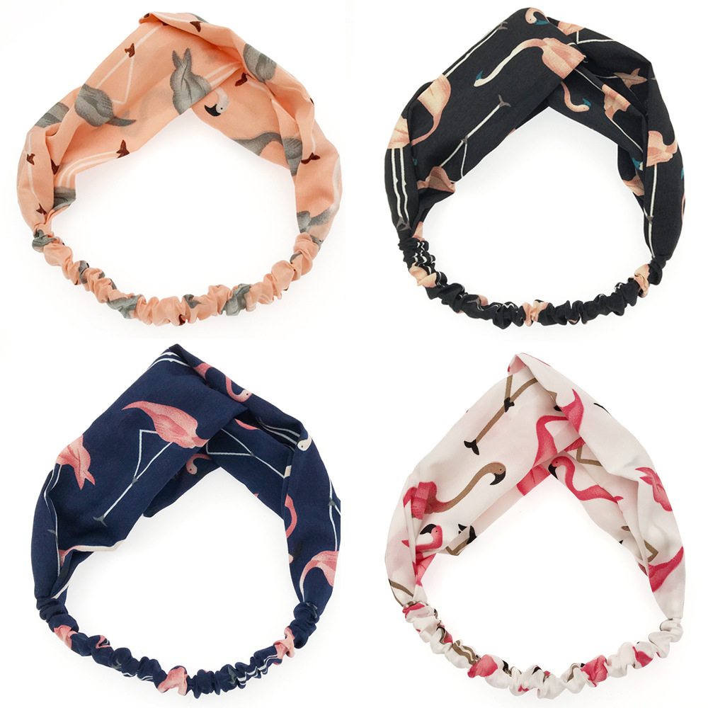 New Fashion Headdress Flamingo Bow Headband Turban Elastic Headwear Head Wrap Women Hair Accessories For Women Striped Hair Band