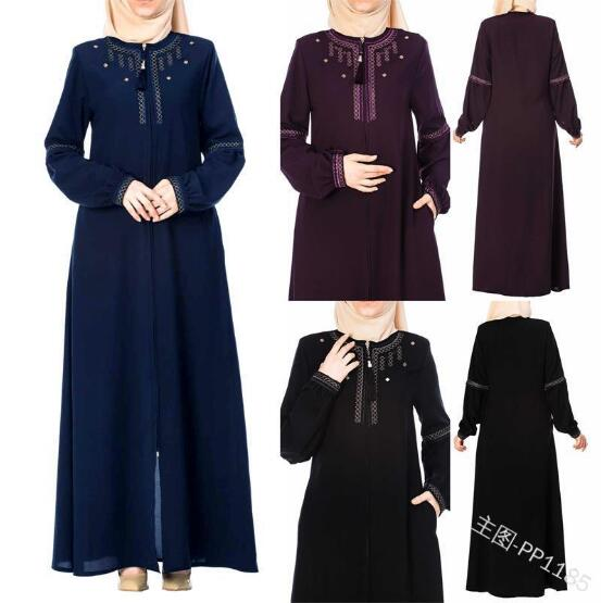 Elegant Muslim Abaya Embroidery Maxi Dress Vestidos Cardigan Kimono Long Robe Gowns Jubah Middle East Eid Ramadan Dubai Islamic