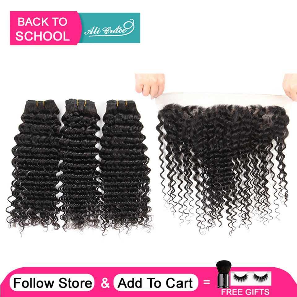 Hair Frontal Ali-Grace Deep-Wave 3-Bundles Brazilian with 13--4-Free Middle-Part Ear-To-Ear