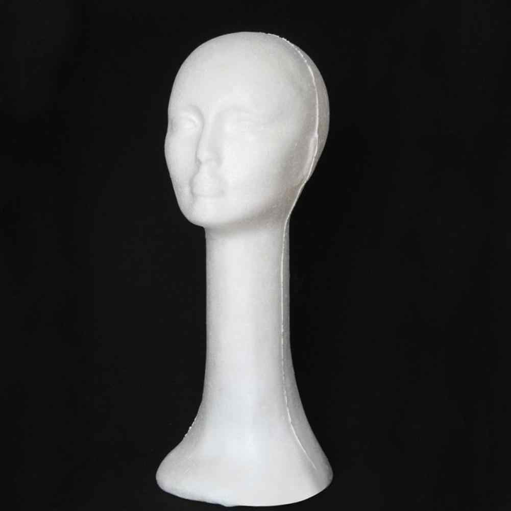 Foam Female Human Head Long Neck Mannequin Wig Hat Glasses Display Stand Model Training Head