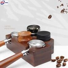 Soporte de almacenamiento para filtro de café, Base de almacenamiento para herramientas Barista, distribuidor de Espresso de madera de haya de 51/53/58mm