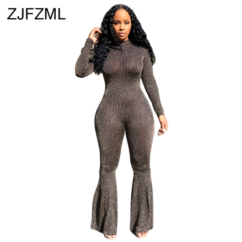 Bling Lurex Sexy Bell Bottom Bodysuit Long Sleeve Striped Flare Jumpsuit Party Night Club Ladies One Piece Plus Size Bodysuit