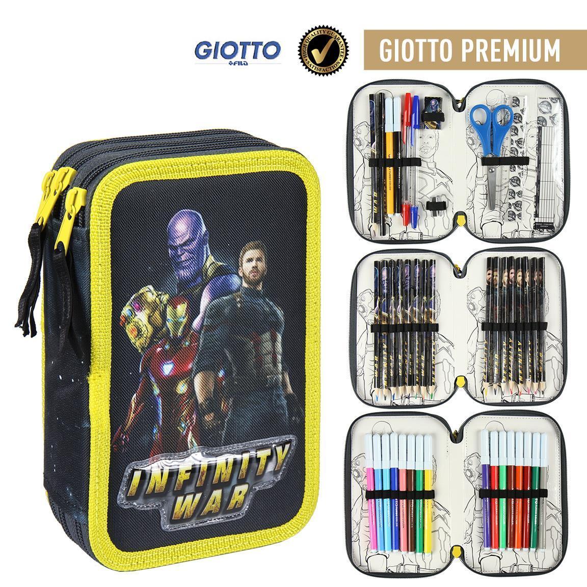 Plumier Triple Giotto Premium Avengers sous licence officielle cadeau enfant original