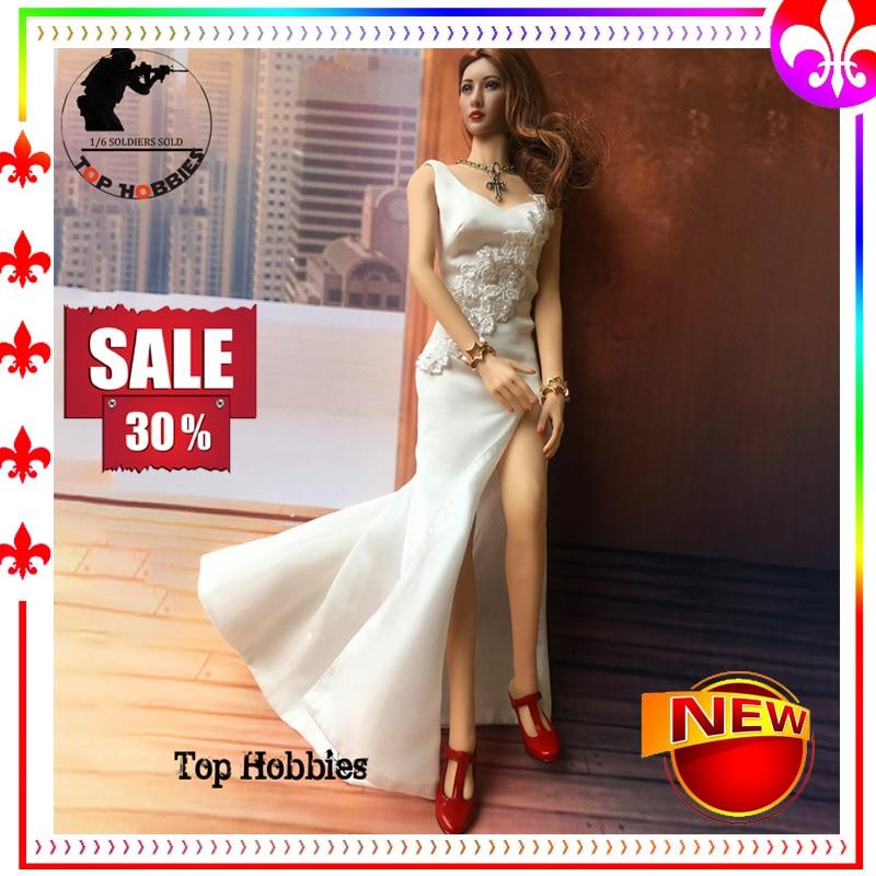 1/6 Scale Action Figure Accessories Sleeveless V-neck Silk Female White Skirt Long Dress Robe Wedding Dress F 12Inch Body Figure