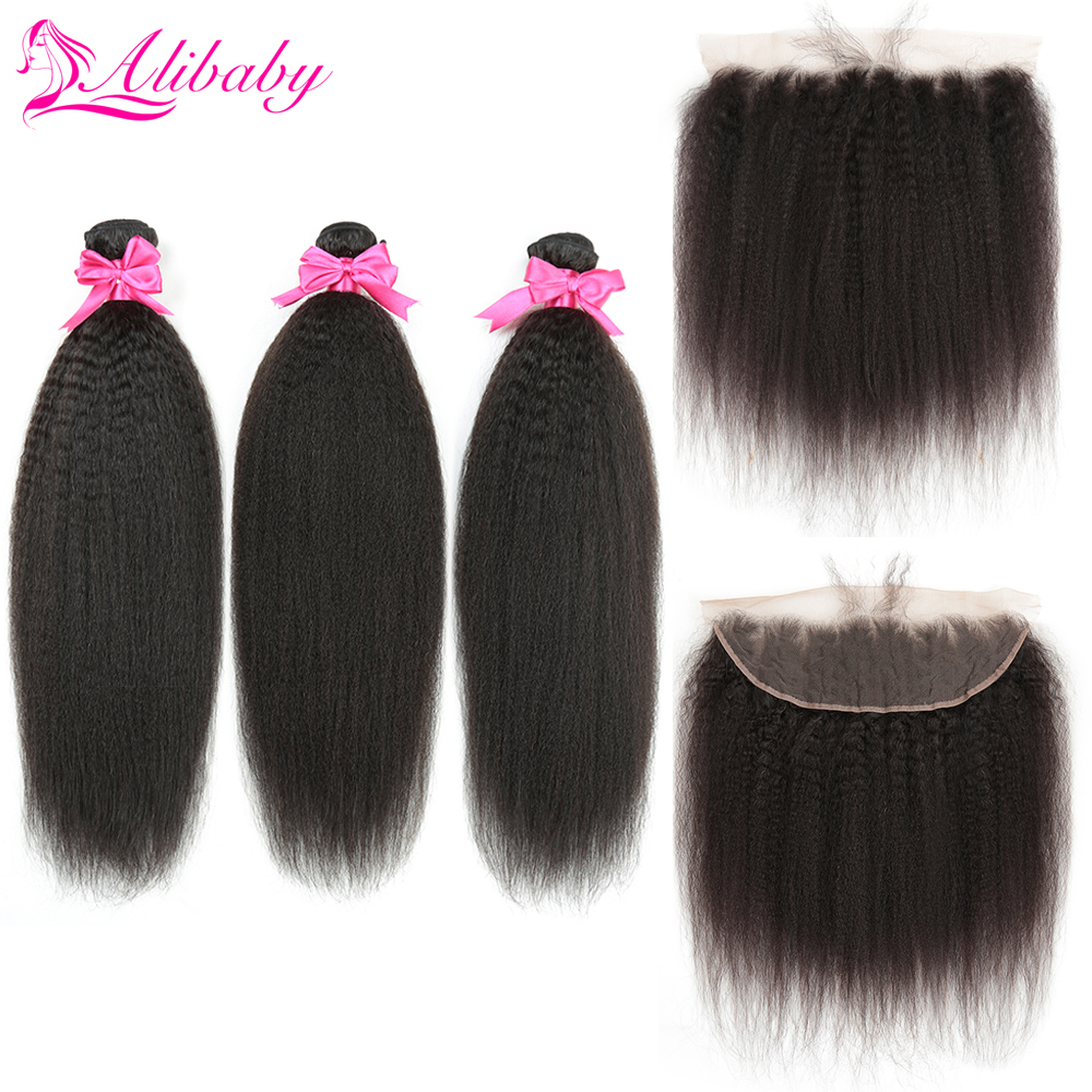 Alibaby Kinky Straight Hair With Lace Frontal Human Hair Bundles With Frontal Yaki Non Remy 3 Bundles With Frontal Natural Color