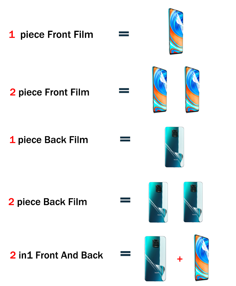 Front+Back Protector Hydrogel Film Full Cover For Xiaomi Redmi Note 9 8 7 Pro Max 8T 9S 7A 8A K30 Pro Screen Protector Not Glass 2