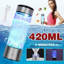 3mins portátil hidrogênio-rico copo de água ionizador fabricante/gerador super antioxidantes orp hidrogênio garrafa 420ml recarregável