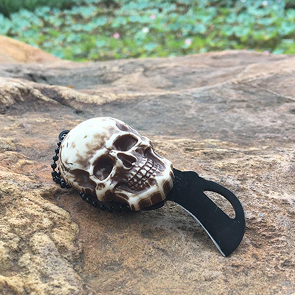Vintage Gold Sliver Skull Design Pocket Mini Knife Outdoor Camping Survival Tactical Knife Necklace Keychain Tool Drop Shipping