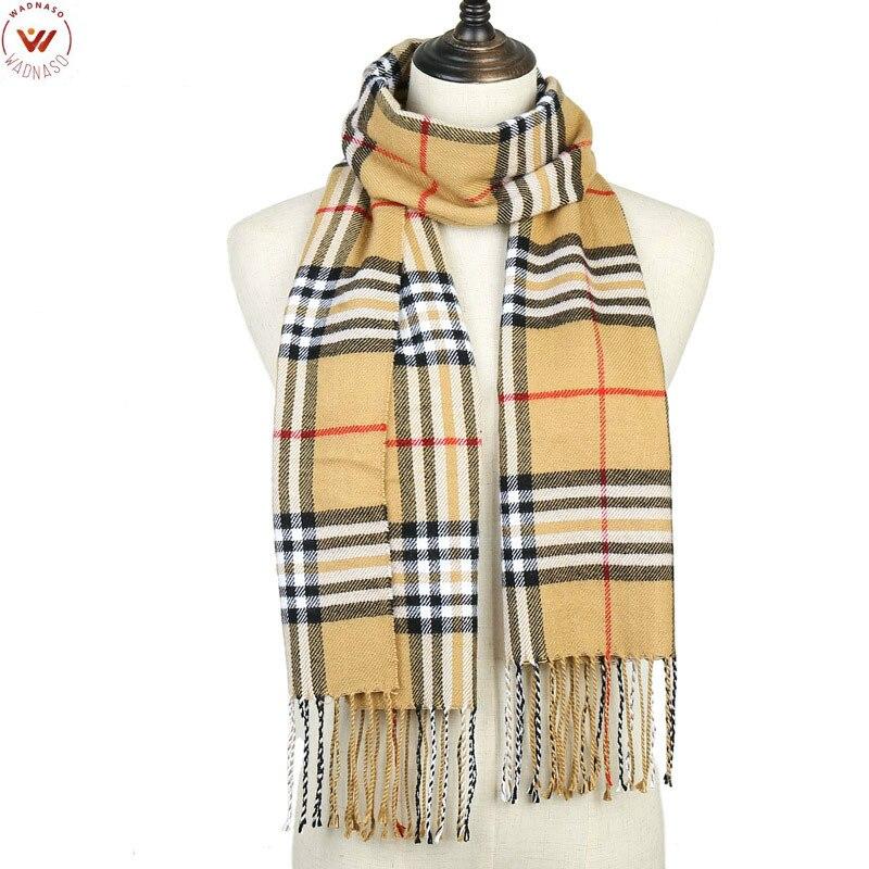 [WADNASO] 2019 Plaid Winter Scarf Women Warm Foulard Solid Scarves Fashion Casual Scarfs Cashmere Bufandas Hombre