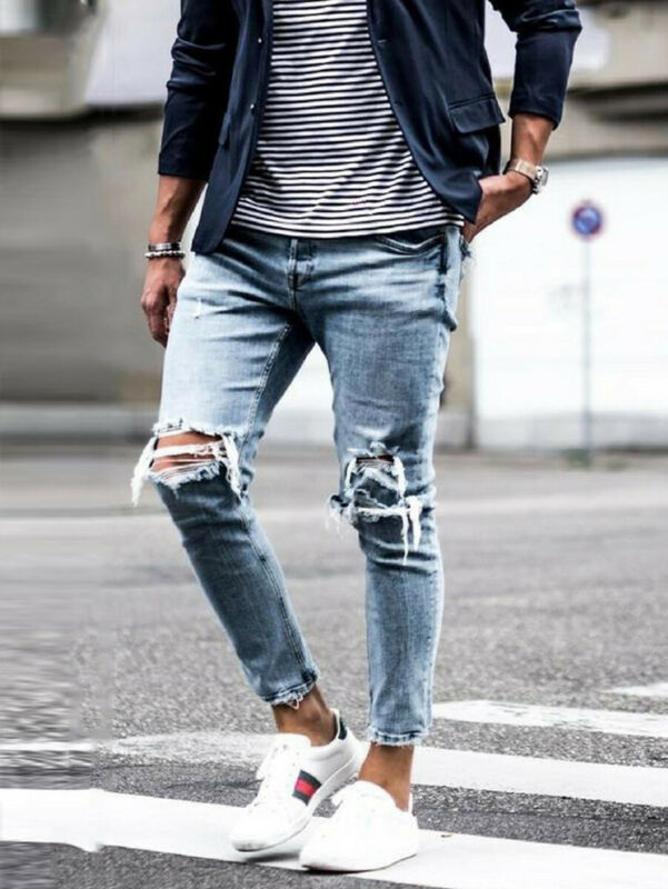 Stylish Men's Ripped Hole Skinny Biker Jeans Destroyed Frayed Slim Fit Strench Denim Pants Trousers